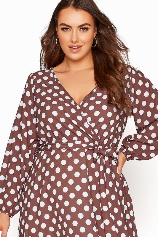 YOURS LONDON Brown Polka Dot Wrap Midi Dress_D.jpg
