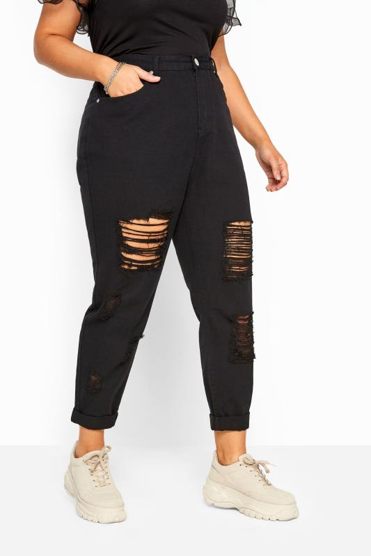 Plus Size Ripped Jeans Black Extreme Distressed Mom Jeans