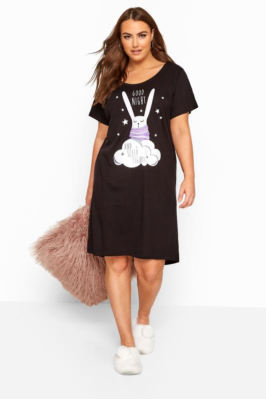 Plus Size Nightdresses & Chemises Black Bunny Rabbit Nightdress