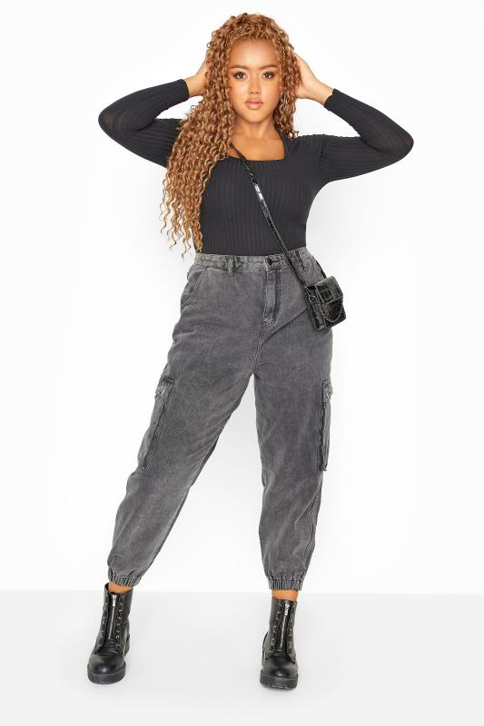 Plus Size  Grey Acid Wash Cargo Jeans