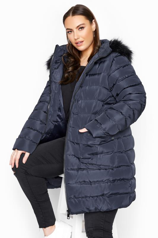 Plus Size  Navy Midi Padded Puffer Coat