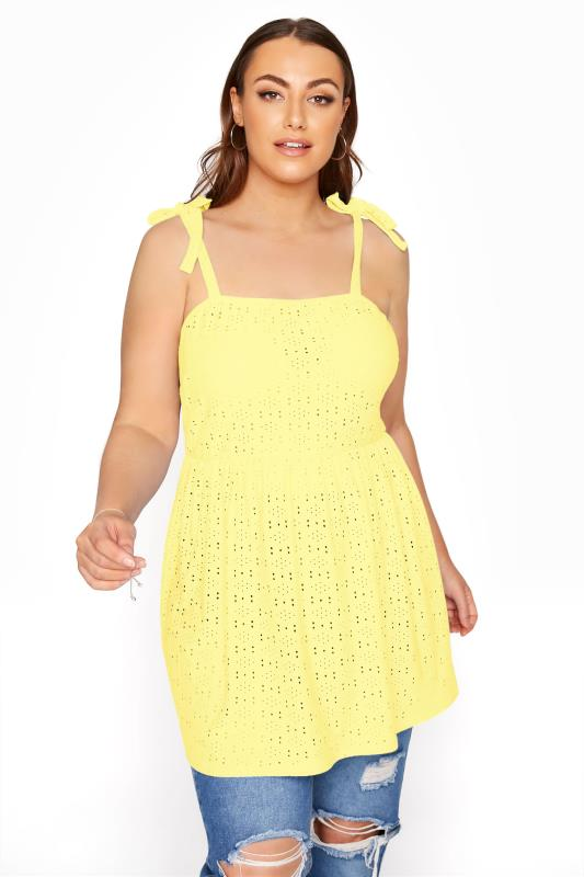 LIMITED COLLECTION Lemon Yellow Broderie Anglaise Smock Top