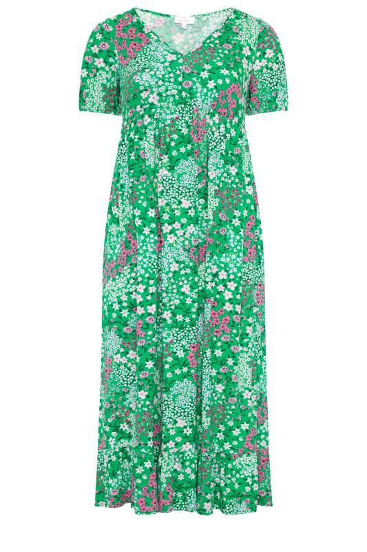 YOURS LONDON Green Floral Jersey Tea Dress_f.jpg