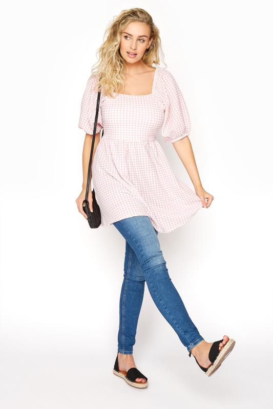 LTS Pink Gingham Square Neck Milkmaid Top