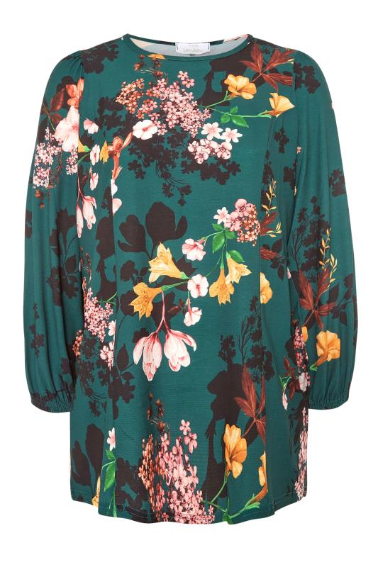 YOURS LONDON Emerald Green Floral Balloon Sleeve Blouse_F.jpg