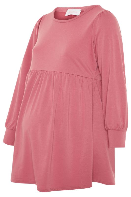 BUMP IT UP MATERNITY Pink Peplum Sweatshirt