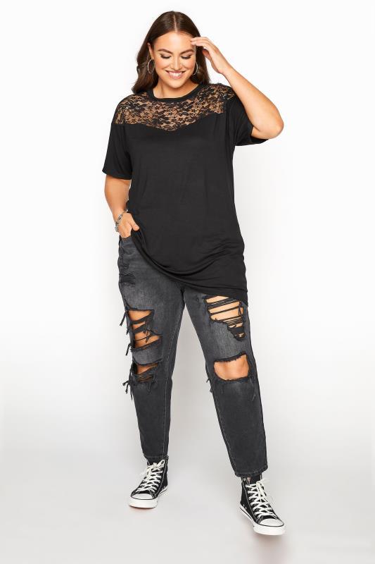 LIMITED COLLECTION Black Lace Yoke T-Shirt_B.jpg