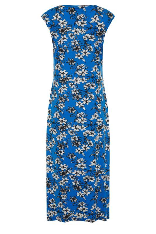 LTS Blue Floral Print V-Neck Midi Dress_BK.jpg