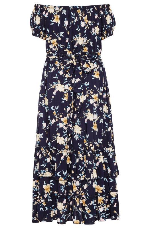 BUMP IT UP MATERNITY Navy Floral Bardot Maxi Dress_BK.jpg