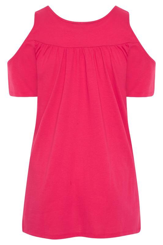 Hot Pink Lace Cold Shoulder Top_BK.jpg