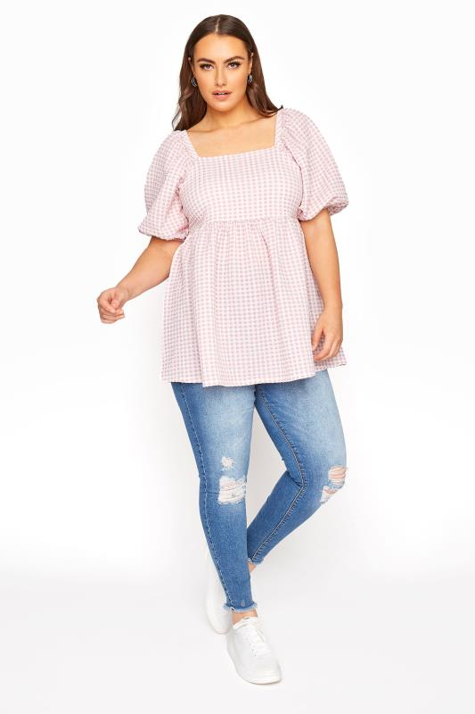 LIMITED COLLECTION Pink Gingham Milkmaid Top