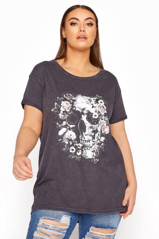Grey Acid Wash Skull T-Shirt