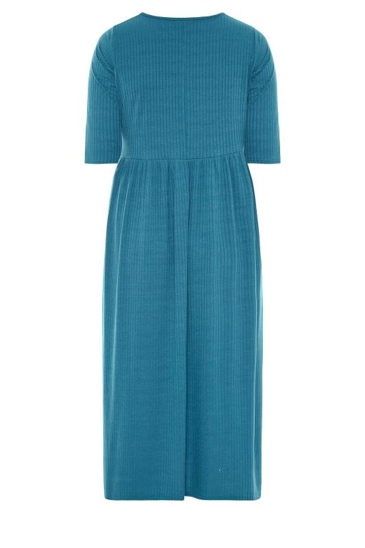 LIMITED COLLECTION Blue Ribbed Midi Dress_BK.jpg