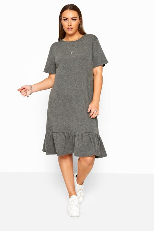 Jersey Dresses Tallas Grandes LIMITED COLLECTION Charcoal Grey Marl Frill Hem Dress