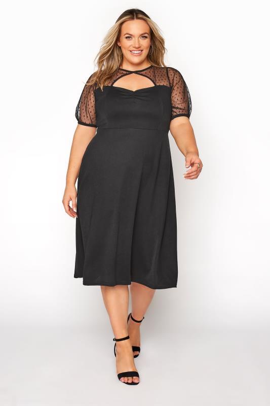 Großen Größen  YOURS LONDON Black Polka Dot Mesh Midi Skater Dress