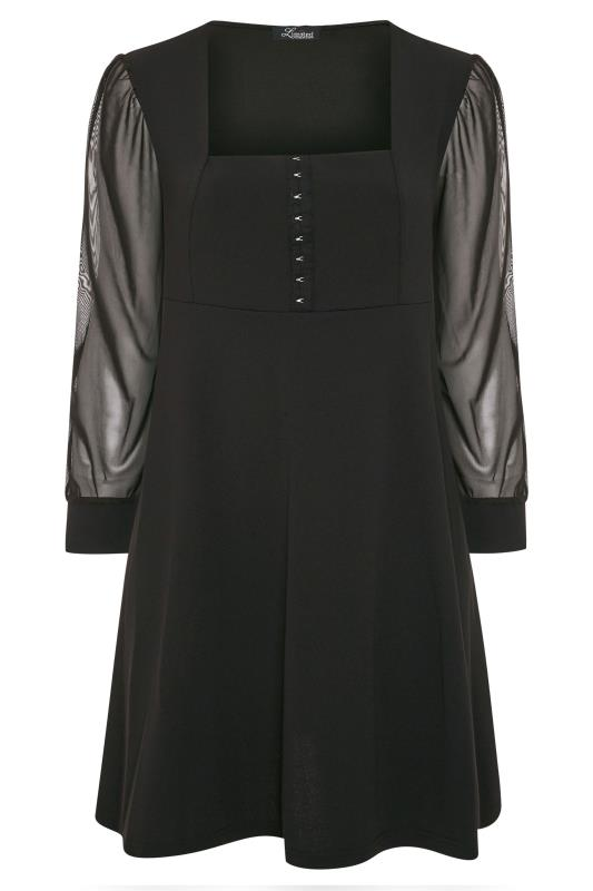 LIMITED COLLECTION Black Milkmaid Mesh Sleeve Skater Dress_F.jpg