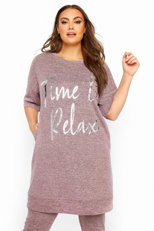 Plus Size Casual / Every Day Dusky Pink Marl 'Time To Relax' Foil Slogan Lounge Top