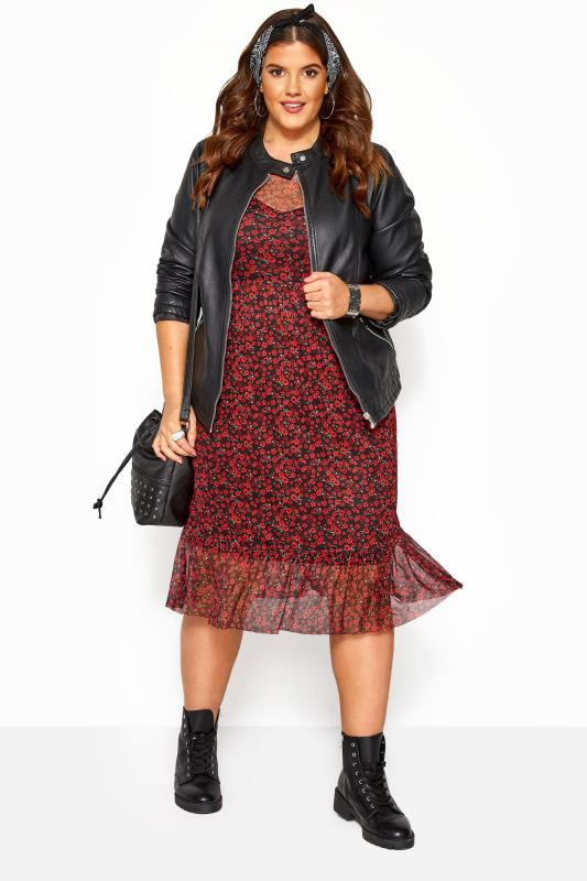 Plus Size Floral Dresses Black & Red Mesh Ditsy Floral Ruffle Dress
