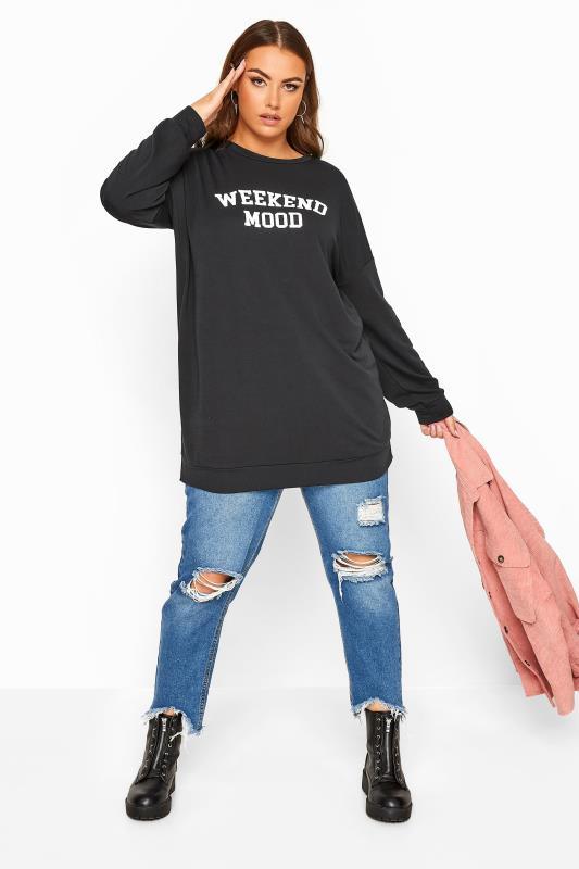 LIMITED COLLECTION Black 'Weekend Mood' Slogan Sweatshirt