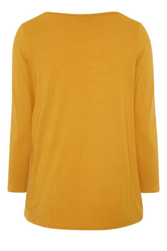 Mustard Yellow Long Sleeve Scoop Neck T-Shirt_BK.jpg