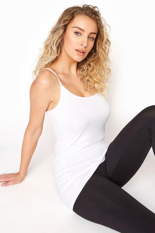 Tall  LTS White Cotton Stretch Cami