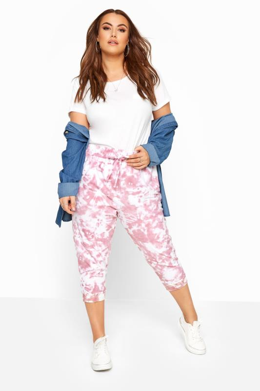 Joggers Pink Tie Dye Cropped Joggers