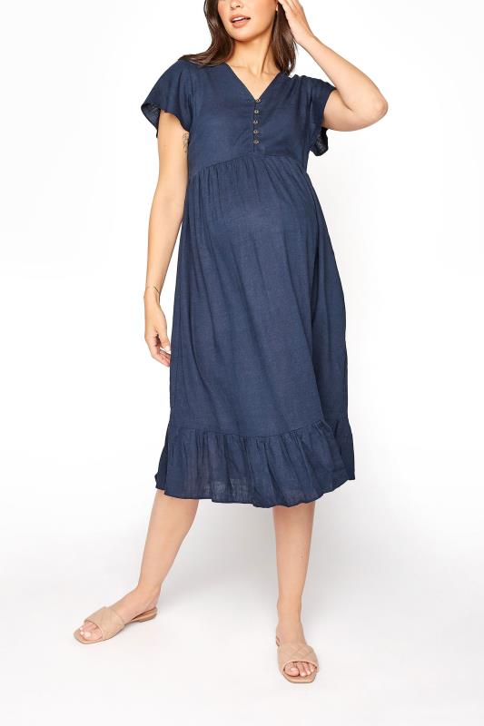 Tall  LTS Maternity Navy Linen-blend Dress