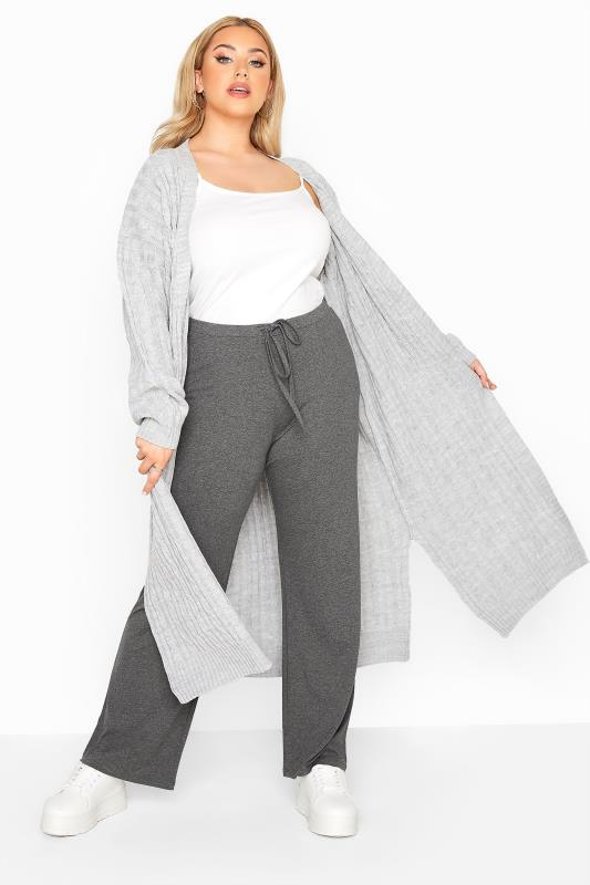 Charcoal Grey Wide Leg Pull On Stretch Jersey Yoga Pants