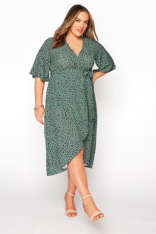 Plus Size  YOURS LONDON Green Dalmatian Midi Wrap Dress