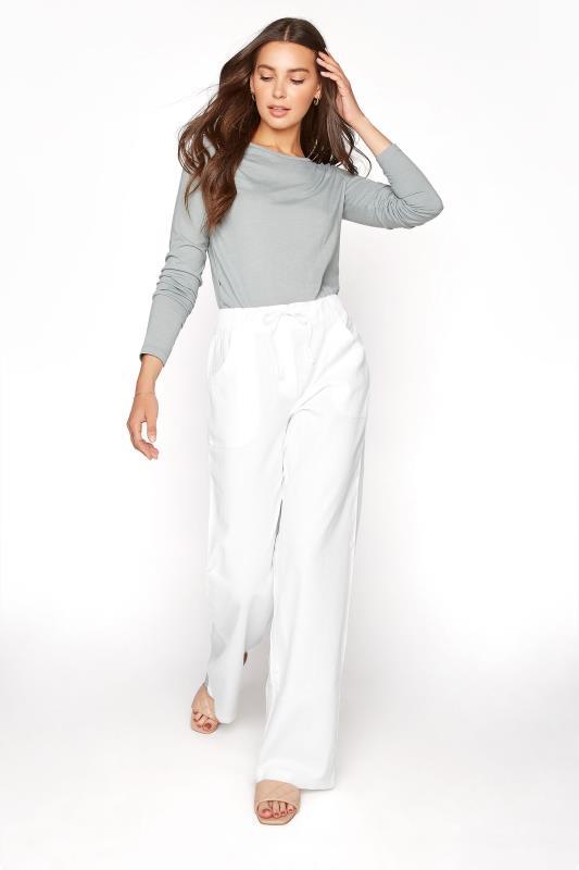 LTS White Linen Blend Wide Leg Trousers