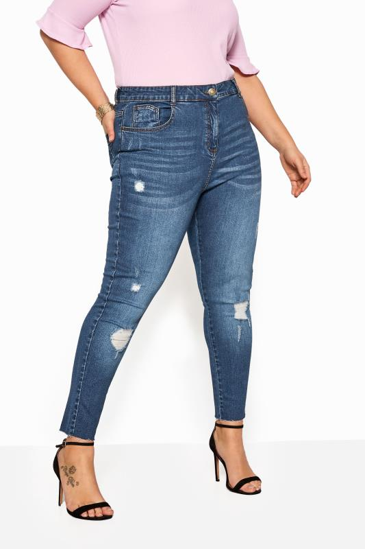 Mid Blue Washed Skinny Stretch Ripped AVA Jeans