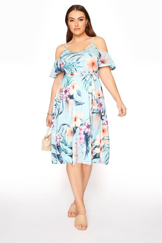 YOURS LONDON Blue Tropical Cold Shoulder Midi Dress