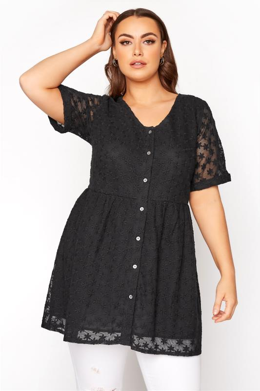 Black Smock Embroidered Button Blouse