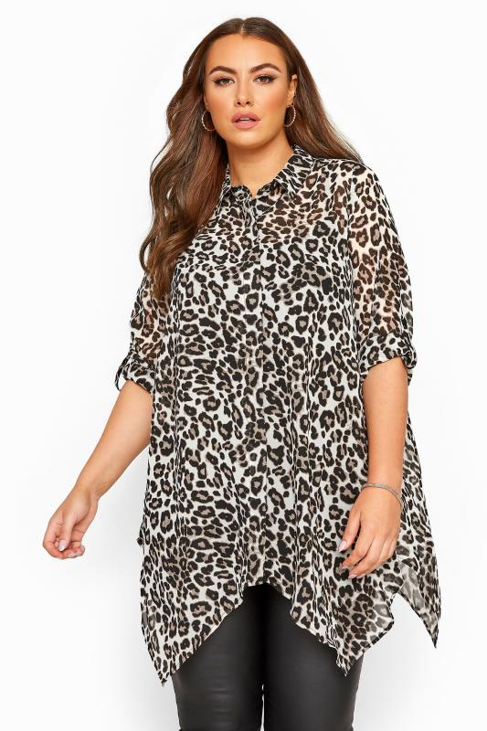 Brown Chiffon Animal Print Hanky Hem Shirt