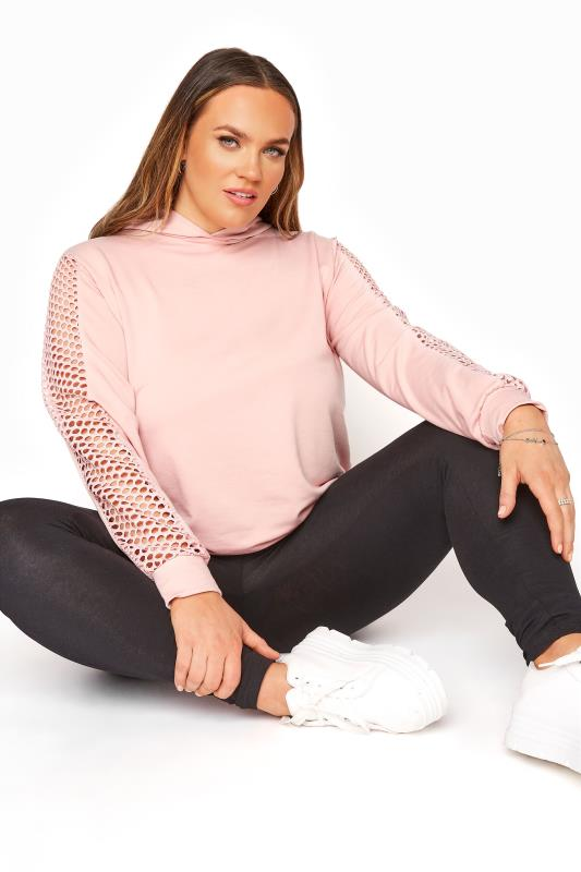 Plus Size  LIMITED COLLECTION Pink Fishnet Sleeve Hoodie