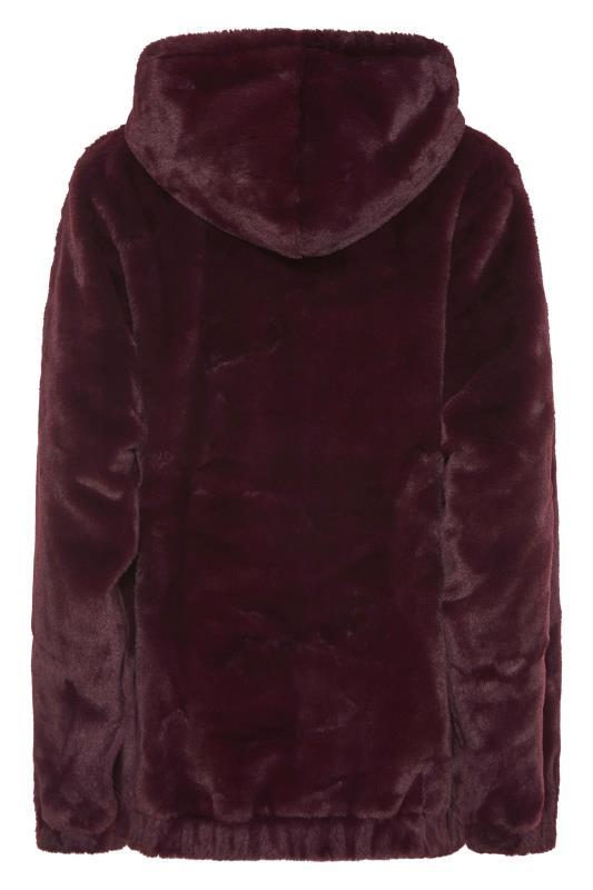 LTS Wine Red Oversized Faux Fur Jacket_BK.jpg
