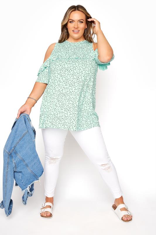 LIMITED COLLECTION Mint Green Floral Frill Cold Shoulder Top