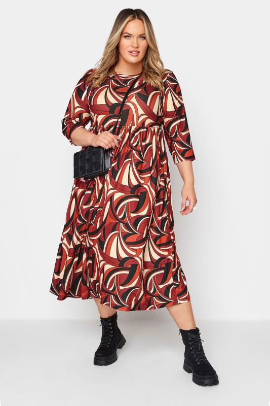 LIMITED COLLECTION Red Abstract Print Midaxi Dress_B.jpg
