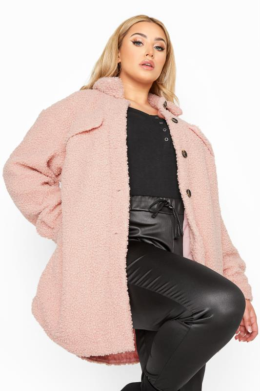 Plus Size  Pink Teddy Shacket