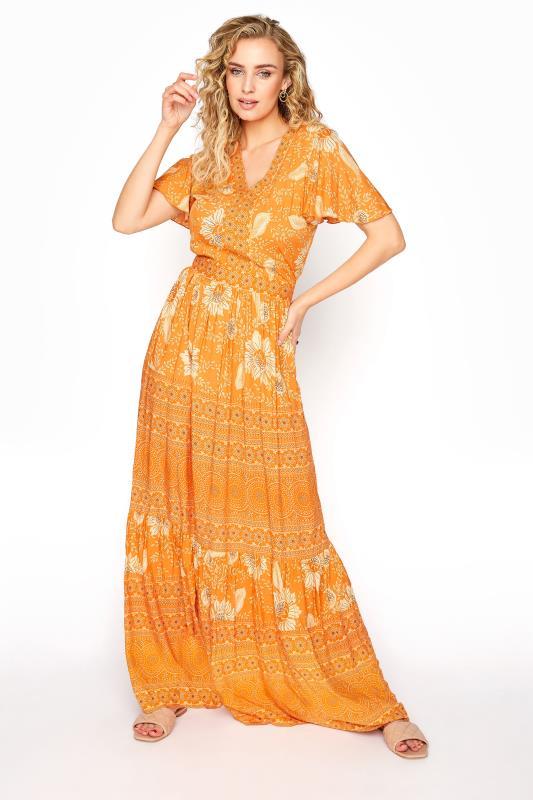 LTS Orange Floral Tiered Boho Maxi Dress