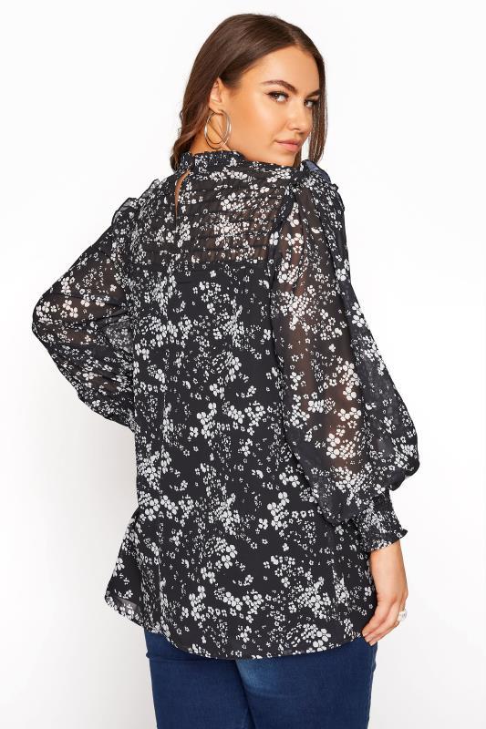 YOURS LONDON Black Floral Ruffle Blouse_C.jpg