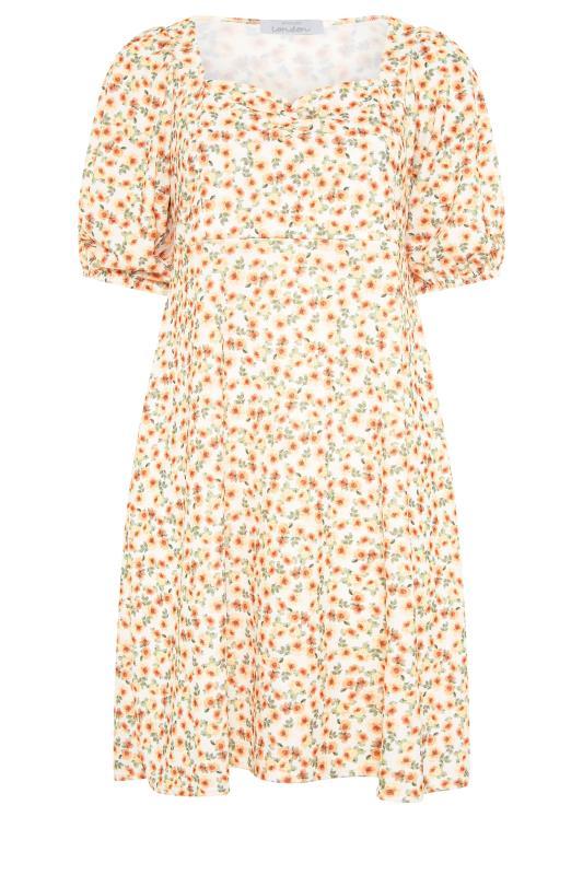 Yellow Ditsy Floral Puff Sleeve Dress_F.jpg