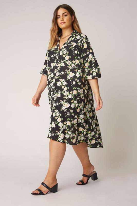 THE LIMITED EDIT Black Floral Pleated Dress_A.jpg