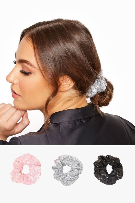 Plus Size  3 PACK Pink & Black Multi Sequin Scrunchie Set