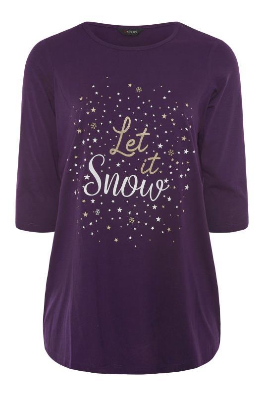 Plus Size  Purple 'Let It Snow' Slogan Christmas T-Shirt