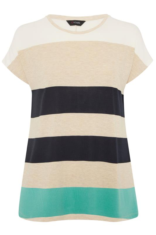 Plus Size  Natural Stripe Grown On Sleeve T-Shirt
