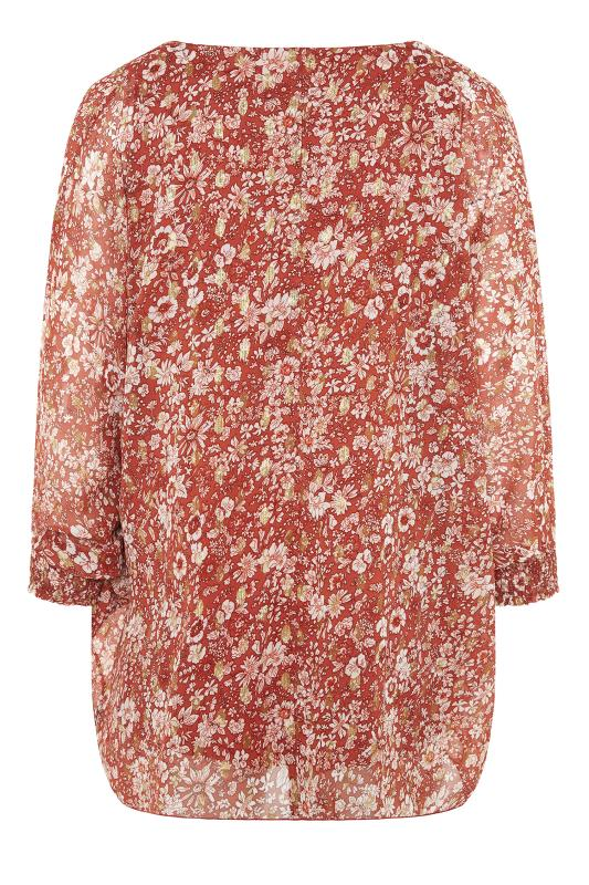 YOURS LONDON Rust Floral Batwing Sleeve Blouse_BK.jpg