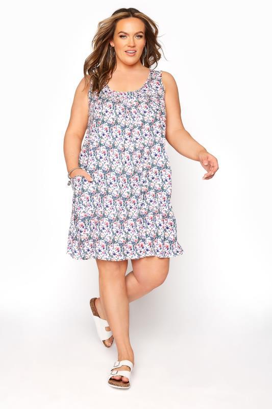 Plus Size  White Floral Drop Pocket Dress