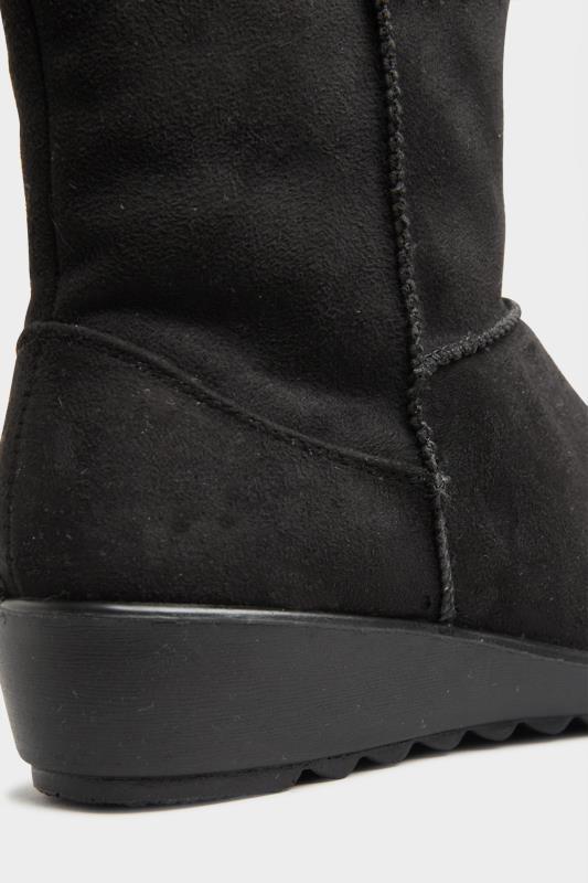 Black Vegan Suede Wedge Heel Boots In Extra Wide Fit_D.jpg