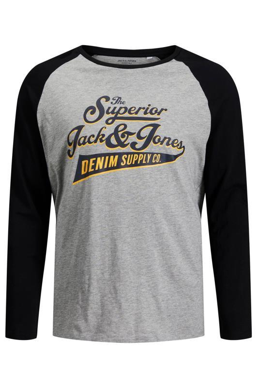 JACK & JONES Black & Grey Raglan Sleeve Logo T-Shirt